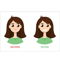 acne gir before and after Flat style vector image vector image