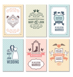 design template of wedding invitation cards vector image