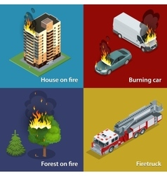House on fire Burning car Forest on fire vector image