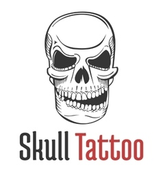 Smirking and scary human skull tattoo with grin vector image