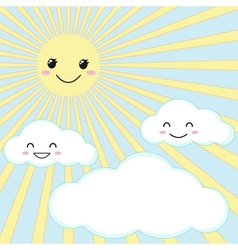 sun and clouds vector image