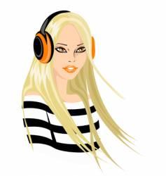 woman in headphones vector image
