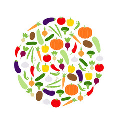 Circle of vegetables vector