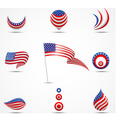 flags and icons of america vector image