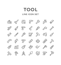 Set line icons of tool vector image vector image