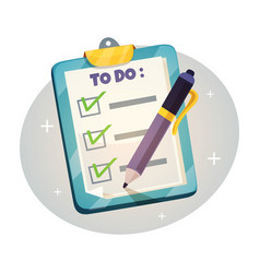 checklist on the clipboard design concept vector image vector image