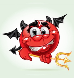 cheerful smile in costume devil with a pitchfork vector image vector image