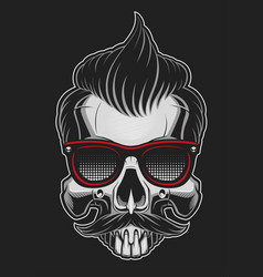 hipster skull vector image vector image