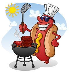 Hot Dog Cartoon Character Grilling vector image vector image