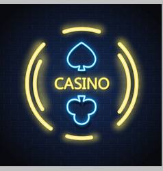 neon casino poker card suit sign brick wall vector image