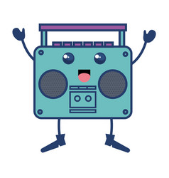 old music player kawaii character vector image
