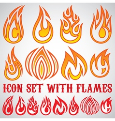 set of stylized icons with flames vector image