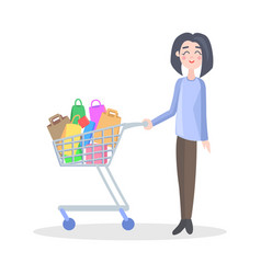 woman with shopping trolley flat icon vector image vector image