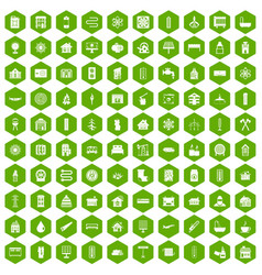 100 heating icons hexagon green vector