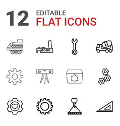 12 engineering icons vector image