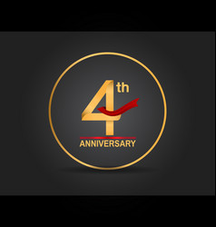 4 anniversary design golden color with ring vector