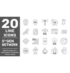 5g internet line icons set internet mobile safety vector image