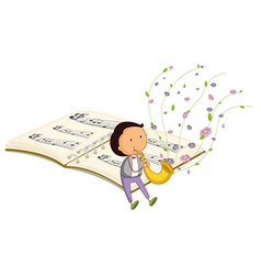 a boy with a trumpet and a music book at back vector image