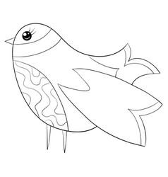 A children coloring bookpage a cute cartoon bird vector