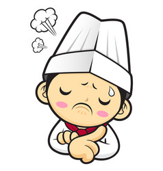 a worried chef character a hard problem that is vector image