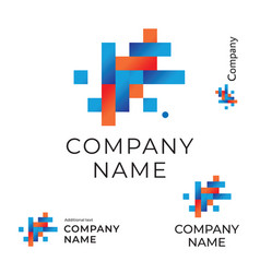 Abstract construction logo with lines and squares vector