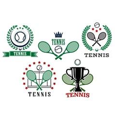Assorted tennis tournament symbols vector image vector image
