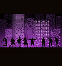 band show on night city background at purple vector image