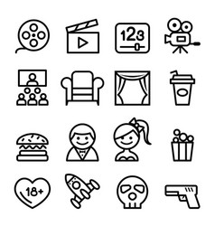 Basic movies icons set line icon vector