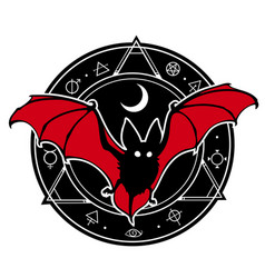 bat in composition with alchemical magic seal vector image