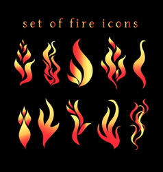beautiful fire icon set vector image