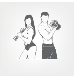 Beautiful fitness young sporty couple with vector