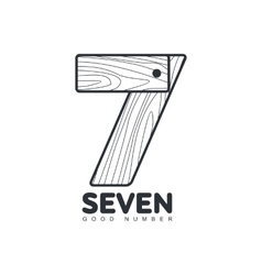Black and white number seven logo formed by wheat vector