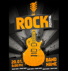 black orange rock festival party flyer vector image