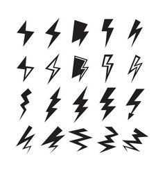 black silhouette thunder and lightning bolt icons vector image