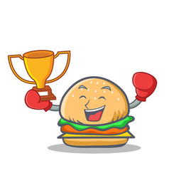 boxing burger character fast food winner vector image