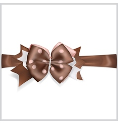 Brown bow with horizontal ribbon vector