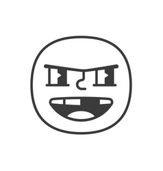 bully smile fase black and white emoji eps 10 vector image