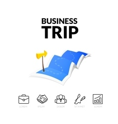 Business trip tour concept logo long route in vector
