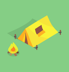 camping tent with window on roof bonfire vector image