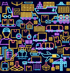 cargo seamless neon pattern vector image