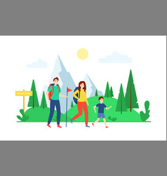cartoon color characters people and hiking vector image