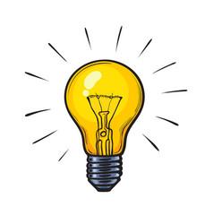 Cartoon glowing yellow light bulb vector