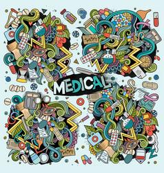Cartoon set medical doodles designs vector
