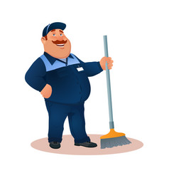 Cartoon worker janitor funny man with mop vector