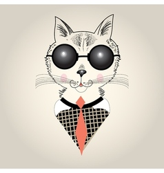Cat portrait hipster vector