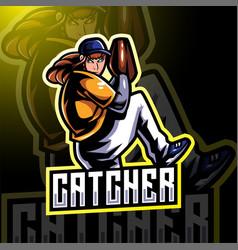 catcher esport mascot logo design vector image