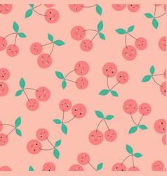 Cherries pattern on pink vector