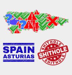 Collage asturias province map symbol mosaic vector
