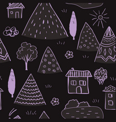 country landscape seamless pattern hand drawn vector image