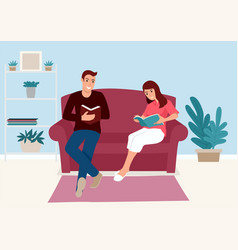 couple reading book together on sofa at home vector image